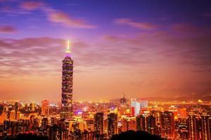 Taipeis stadshorisont vid solnedgången med den berömda Taipei 101 foto