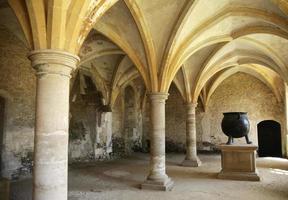 medeltida kök med kittel foto