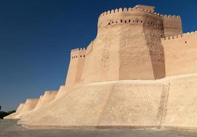 vägg av itchan kala - khiva - uzbekistan foto