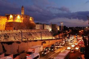 väggar i den antika staden på natten, Jerusalem foto