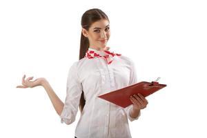 flicka stående med mapp foto