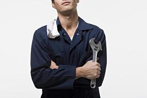 porträtt av en mekaniker foto
