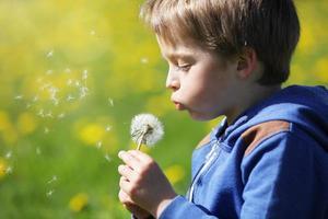 pojke som blåser maskrosfrön i ett fält