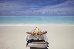 lounge på stranden foto