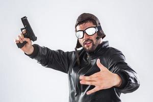 rappare med pistol foto