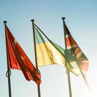 Ukraina flagga framför Europarådets byggnad foto