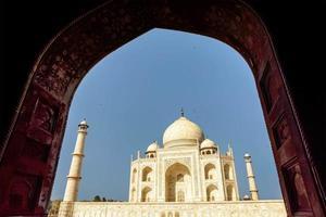 taj mahal, blå himmel, resa till Indien foto