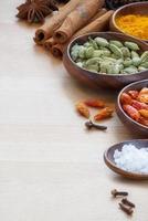 indiska kryddor, vertikal hörnbakgrund foto
