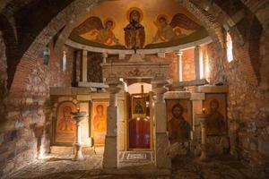 kyrka vid forntida mantineia, arcadia, peloponnesos, Grekland foto