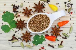 korianderfrön med urval av indiska kryddor foto