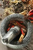kryddor med murbruk och stöt foto