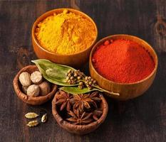 färgglada kryddor i skålar på träbakgrund. foto