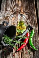 murbruk med färgglada kryddor foto