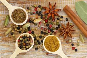 indiska kryddor på träytan foto