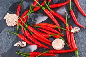 varm röd chilipeppar foto