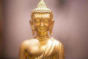 porträtt av kinesiska traditionella guldpengar buddha staty foto