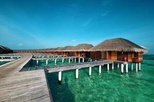 vacker strand med vattenbungalows foto
