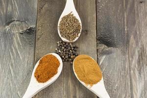 olika kryddor på träskedar och vintage träbakgrund foto