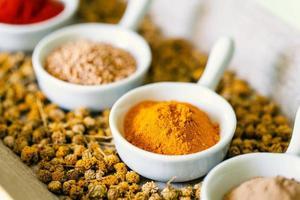 små skålar med torkade kryddor. foto