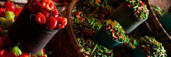 små färska röda gröna och orange habanero chili på en foto