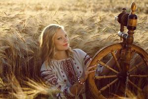 vacker ung ukrainsk flicka i traditionell klänning