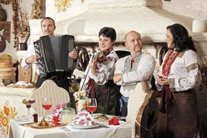 ukrainska etniska musikband konsert foto