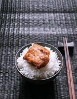 ris och fläsk mat stilfullt foto