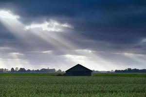 träkoja över himmel med solstrålar foto