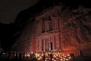petra historiska syn på natten foto