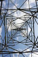 högspänningspol på bakgrund med blå himmel. foto