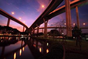 bhumibol bridge med skyline reflektion i skymningen foto