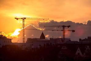 solnedgång i Köln, Tyskland foto