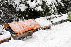 roost av hemlösa på vintern foto