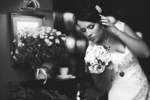 svartvitt bröllop foto