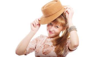 ung flicka med hatt, vintage stil foto