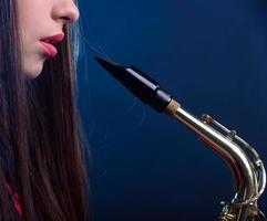 saxofonspelare foto