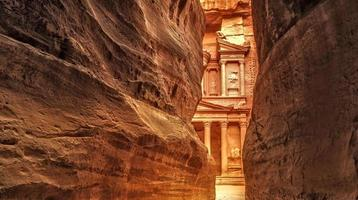 siq i den antika staden Petra, Jordanien foto