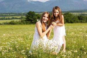 två vackra systrar på ängen av kamomillar