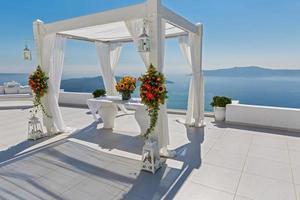 bröllop dekoration på santorini, Grekland foto