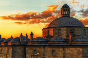 solnedgång i historiska platser foto