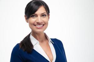 porträtt av en leende affärskvinna foto