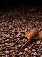 kaffebönor på mörk bakgrund