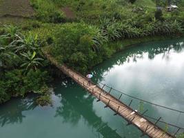 person som går över bron över floden