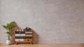 interiör med rå betongvägg och modern inredning