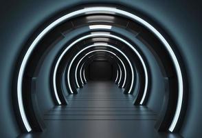 scifi 3d-rendering av en rymdskeppskorridor