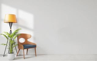 vardagsrum med vit vägg foto