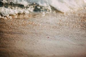 närbild av sand på en strand