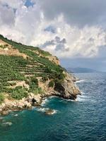 gräsbevuxen klippa över blå havsvatten foto