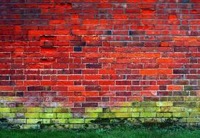 röd och grön tegelvägg foto