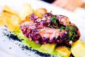 närbild av bläckfisk maträtt